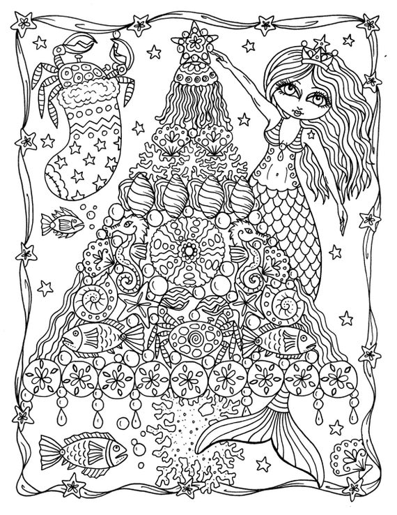 coloring pages of a | Mermaid Tree Christmas Coloring Page Instant Downloads