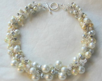 Bridal Wedding Short Choker  Necklace, Pale Yellow, Ivory, Cream, White, Grey, Pearl Crystal, Cluster, Hand Knit, Sereba Designs on Etsy