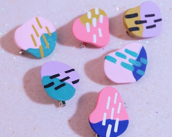 Colour Blob Polymer Clay Lapel Pin
