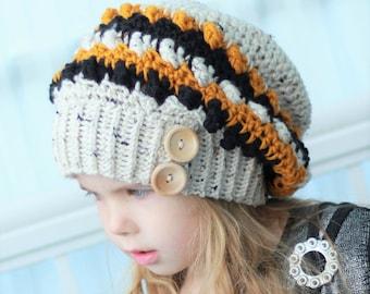 Crochet pattern, Patron de crochet, english / french  –Arianne Slouchy Beanie Hat Bonnet Beret (Toddler- Child- Adult sizes)