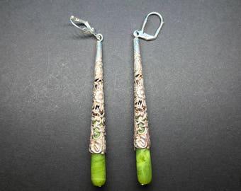 Long Drop Earrings With Nephrite