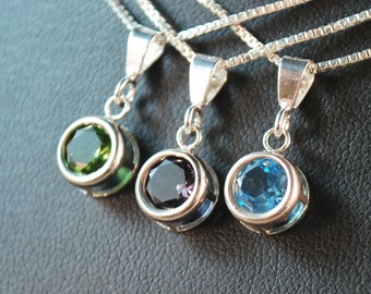Custom Birthstone Droplet Necklace - Choose your Color