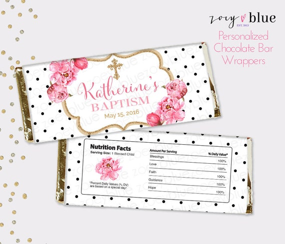 Peony Baptism Chocolate Bar Wrapper Pink Gold Floral