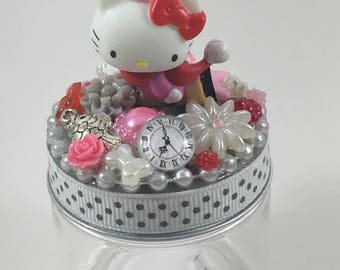 Assemblage Art Trinket Party Favor Jar  --  Hello Kitty, Hello Skater