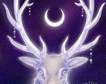 Elk Moon - Digital Art Print, Fantasy Art, Elk, Ghostly, Spiritual, Stars, Moon, Starry sky, Magic, Animal, Antlers, Mythical, Mystical.