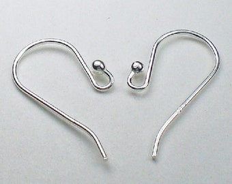 Sterling Silver Ball Ear Wires French Hook 21 Ga. 2mm Ball E-110
