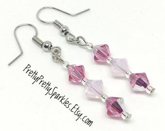 Swarovski Crystal Earrings / pink Swarovski crystal earrings / rose Swarovski crystal earrings / pink crystal earrings / casual earrings