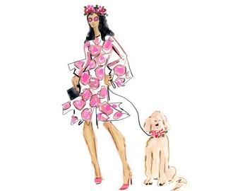 Fashion Figures, Instant Art Print, Fashion Print, Fashion Illustration, Printable Watercolor Wall Decor, Dog Art, Fashion Art, Printables