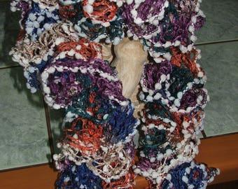 Ruffle scarf multicolor edge white PomPoms - handmade