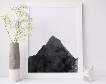 Minimalist Print, Printable Wall Decor, Digital Print, Mountain Print, Black & White, Wall Decor, Mountain Art Print, Wall Art, Office Print