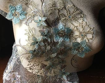 "Aqua ""Alice"" 3D Lace Fabric FAT QUARTER with Rhinestones for Bridal, GRAD, Lyrical Dance, Ballet, Couture Gowns, Costume Design"