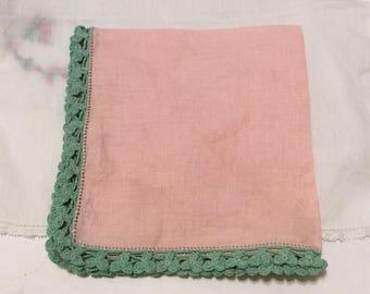 Vintage handkerchief, vintage hankie, vintage hanky, pink and green handkerchief, Valentine's Day