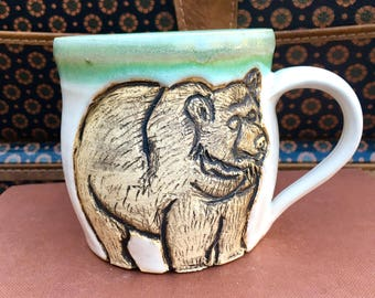 Bear Mug, Hand-Carved Pottery Mug, Ceramic Cup, Wheel Thrown, Woodland Creatures