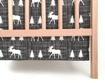 Crib Skirt Moose Trot. Baby Bedding. Crib Bedding. Crib Skirt Boy. Baby Boy Nursery. Moose Crib Skirt. Woodland Nursery.