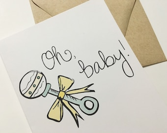 Oh Baby! Baby Shower Card - Congratulations Pregnancy Card - Maternity Card - Mom-To-Be Card -  Card for Expecting Mom - Baby Shower