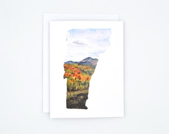 Vermont State Art Card - Watercolor Notecard - Vermont Notecard - Vermont Gift  - Blank Notecards - Vermont Watercolor -  Pretty Notecard