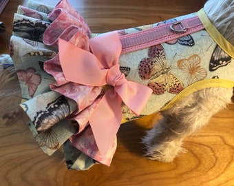 Butterflies Double Ruffle Dog Harness Made in USA, dog dress, dog harnesses, pet clothing