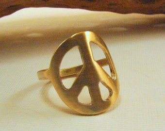 Peace Sign Ring, Red Brass Peace Sign Ring, Any Size, Made to Order