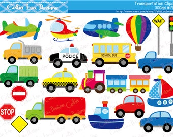 Transportation Clipart ,Car, Taxi, School Bus, Police Car, Truck, Train, Plane, Helicopter, Ship, Boat, Air balloon, Traffic light (CG223)