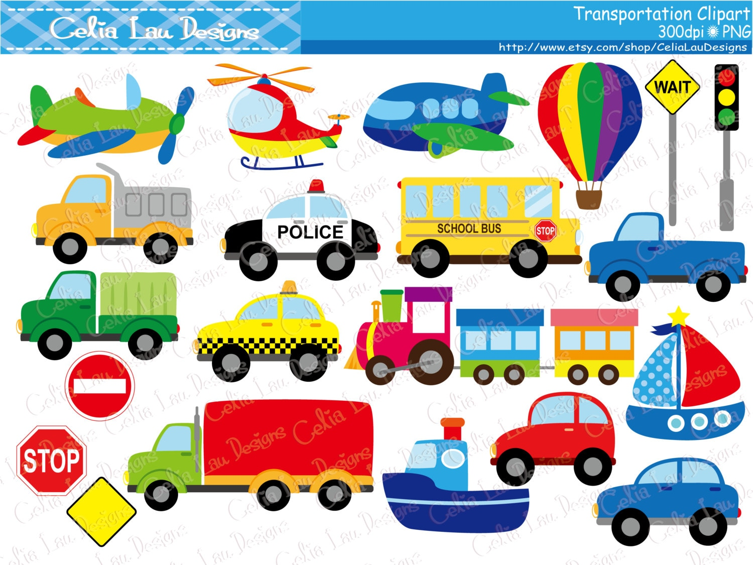 Preferred Transportation Clipart Car Taxi School Bus Police Car IG54