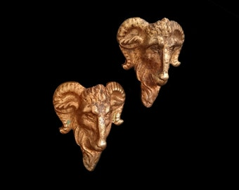 Antique Rams' Heads Drawer Pulls, Gilt Ormolu Drawer Knobs, French Bronze Sculpture, Twin Rams, 'Aries', Wicca, Goth, Gothic, Gift for Home