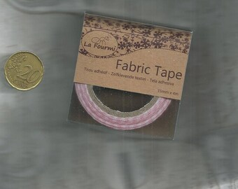 Ribbon  - Fabric Tape red and white - 15mm x 4m