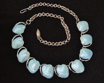Vintage Sea Shells in Light Blue Plastic and Silver Tone Metal Necklace