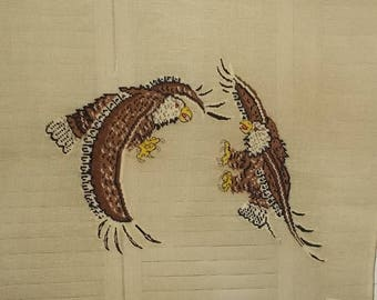 "Vintage Large Flying / Fighting Eagles Needlepoint Canvas by Reynolds-27"" x 27"""