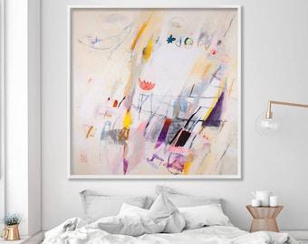 "Large wall art prints of original art, abstract art GICLEE print of acrylic painting 40x40"" cream bird art by Duealberi"