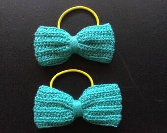 Set of 2 Crochet lace bow. Crochet lace ponytail elastic