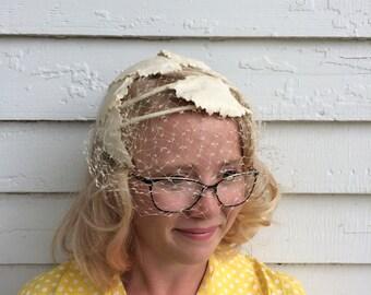 Ivory Leaf Hat with Veil Vintage