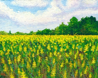 Giclee print, Goldenrod and Sunflowers, 9 x 12 in.