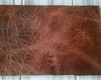 "8-9 oz antique buffalo oil tan leather 8""x12"""