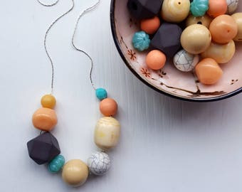 chalkboard necklace - remixed vintage beads - length options - chunky jewelry, statement necklace, earthtones