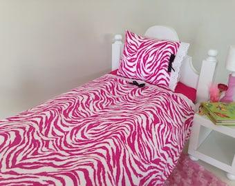 cc Girl Doll Bedding for 18 in Doll - 3pc Pillow n Sheet/Linen Set - Zebra