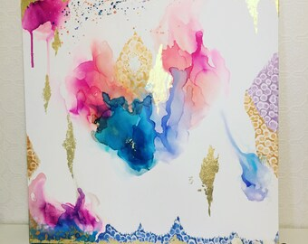 Abstract painting with shades of Blue, Coral, Pink, Purple, Aqua and Gold