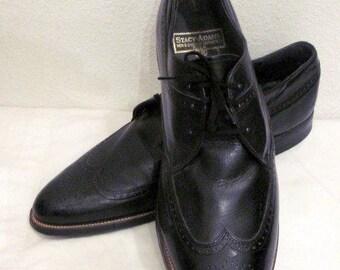 sz 13 d vintage 60s black men STACY ADAMS stylish leather  lace up dress shoes