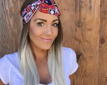 St. Louis Cardinals Turban Headband || Hair Band Accessory Cotton Workout Yoga Baseball Pinup Fashion Red Navy Blue White Head Scarf Girl