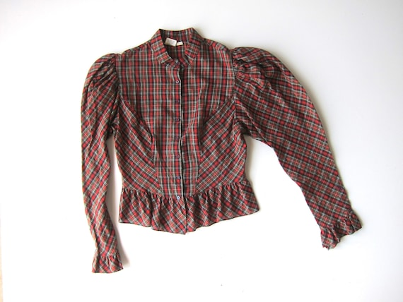 Plaid Puff Shoulder Shirt 70s Green Red Preppy Cropped Western Blouse Peasant 80s Long Sleeve Top Button Up Shirt Vintage Womens Small