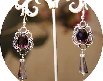 Victorian earrings purple Crystal, Amethyst purple Crystal on silver frame and drop Crystal