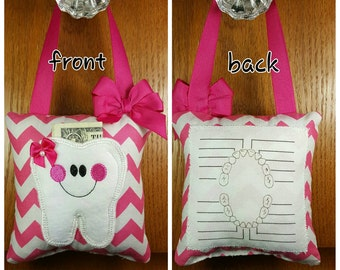Tooth fairy pillow with tooth chart, pink and white chevron