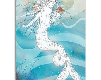 Mermaid Ghost, Note Cards - Set of four 5x7 note cards - painting and poem by Claire