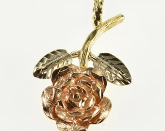 14k Two Tone Textured Rose Flower Pendant Gold