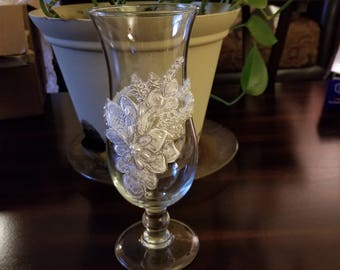 Lace Decorated Hurricane Glass