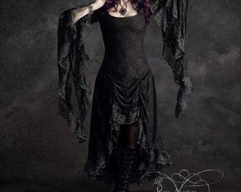 Cassiel Fairy Tale Romantic Gothic Vampire Dress in Lace - Handmade Bespoke Custom Made Dark Romantic Couture by Rose Mortem