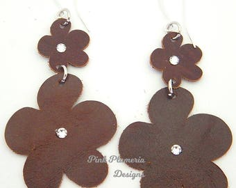 Leather Plumeria Earrings, Floral Earrings, Lightweight Statement Earrings, Wearable Art Earrings