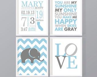 personalized baby nursery prints birth stats, subway art birth announcement, baby boy room decor, baby boy nursery decorations baby stats
