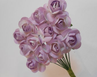 24 Lavender Paper Roses / Paper Flowers / Lavender Roses / Floral Supply / Fake Flowers / Artificial Flowers / Crafting Flowers / Roses