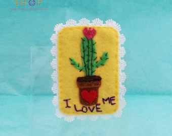 Pretty Cactus Brooch, Cactus brooch, Handmade brooch, Felt Brooch, Handmade felt,Embroidery brooch, Gift, Brooch, Fashion jewelry, Gift idea
