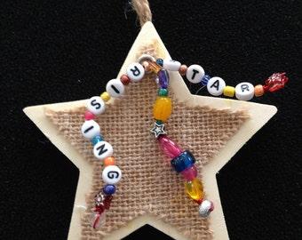 Mixed Media Star Christmas Ornament